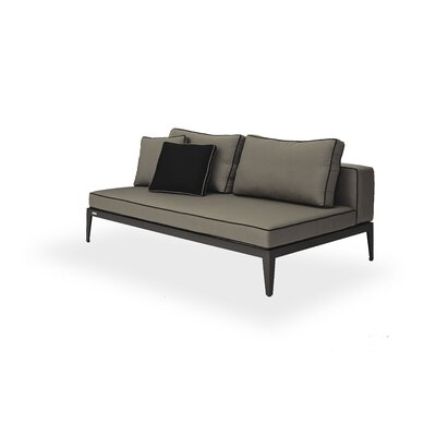 Balmoral Armless Deep Seating Sofa with Cushions Frame: Asteroid, Material: Sunbrella Graphite /Piping Black