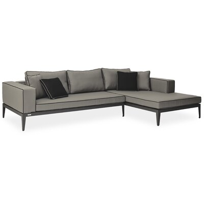 Balmoral Left/Right Arm Chaise Sectional Piece with Cushions Material: Coal, Frame: Silver