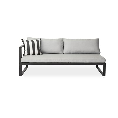 Piano Left Arm Deep Seating Sofa with Cushions Seat: Charcoal, Material: Sunbrella Natural, Frame: White