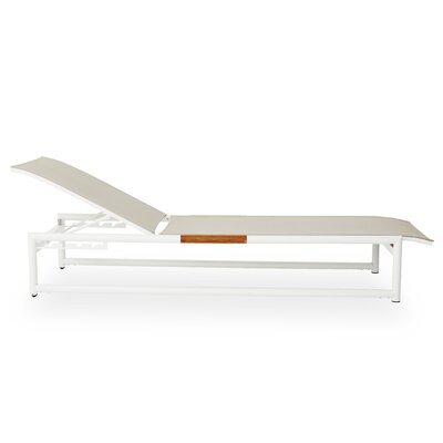Breeze Stacking Sun Chaise Lounge Finish: White, Fabric: Taupe
