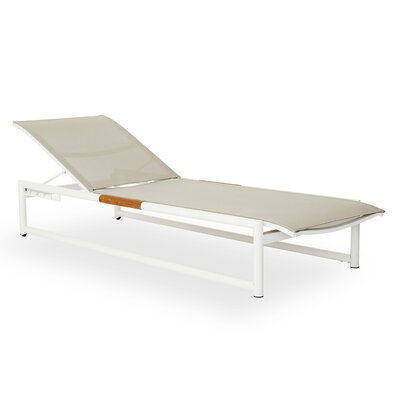 Breeze Stacking Sun Chaise Lounge Fabric: White, Finish: Taupe