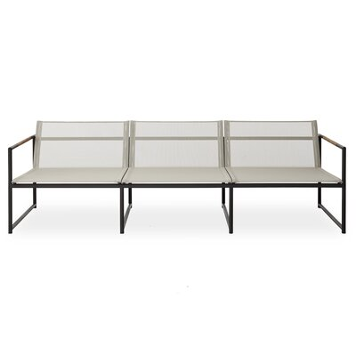 Breeze Three Seat Sofa Finish: Stainless Steel, Fabric: Taupe