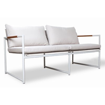 Breeze Two Seat Sofa Fabric: White, Finish: Taupe