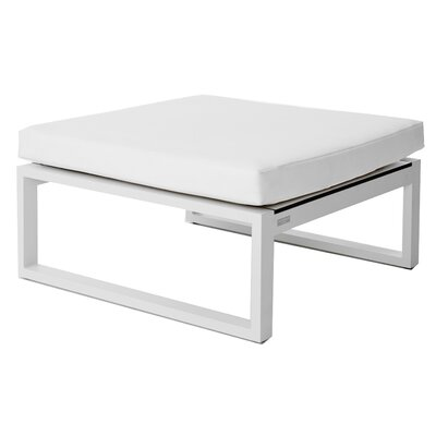 Piano Ottoman with Cushion Seat Color: White, Frame: Silver, Fabric: Sunbrella Natural, QD Foam
