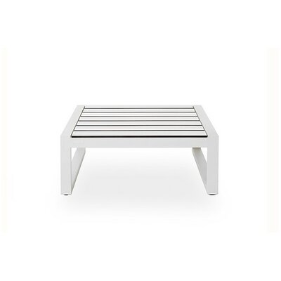 Piano Ottoman Fabric: Charcoal, Finish: White