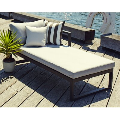 Piano Right Arm Deep Seating Chaise Seat Color: Charcoal, Material: Euro Sunbrella, Frame: White