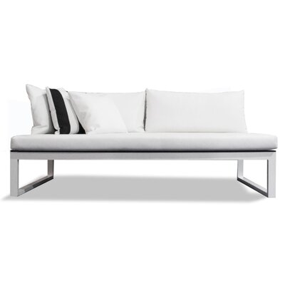 Piano Sofa with Cushions Seat: Charcoal Laminate, Frame: Silver, Material: White Marine Vinyl, QD Foam