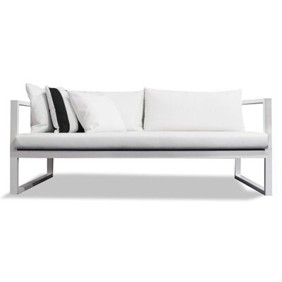 Piano Deep Seating Sofa with Cushions Seat: Charcoal Laminate, Material: Sunbrella Canvas, Frame: White