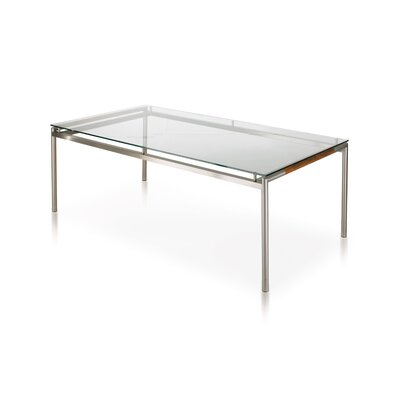 Breeze Table Table Size: 103 x 40, Top Finish: Taupe, Finish: Silver