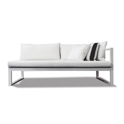Piano Right Arm Sofa with Mesh Cushions Material: Sunbrella Taupe, Frame: White