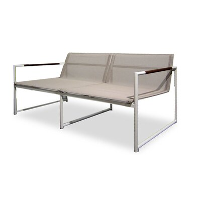 Breeze Two Seat Sofa Fabric: White, Finish: Stainless Steel