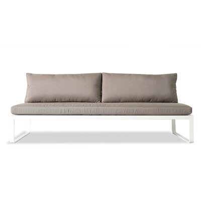 Clovelly Armless Deep Seating Sofa with Cushions Fabric: Marine Vinyl White