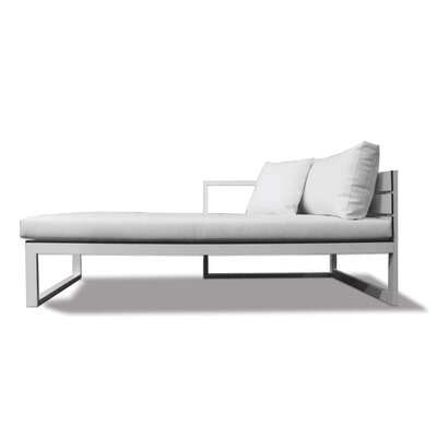 Piano Left Arm Deep Seating Chaise Seat Color: White, Frame: Asteroid, Material: Euro Sunbrella
