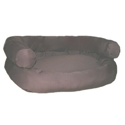 Double Bolster Couch Dog Bed Color: Olive Microvelvet, Size: Large (16 - 18 H x 36 W x 44 D)