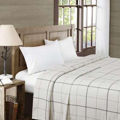 Wilton Yarn Dyed Cotton Blanket Size: King, Color: Ivory