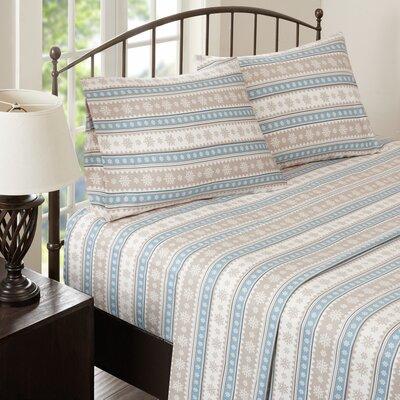Nordic Snowflake Flannel Sheet Set Size: King, Color: Blue