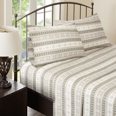 Nordic Snowflake Flannel Sheet Set Size: Queen, Color: Tan