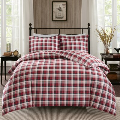 Tasha 3 Piece Duvet Cover Set Size: Queen, Color: Red
