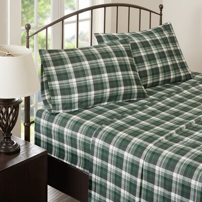 Tasha 100% Cotton Flannel Sheet Set Size: Cal King, Color: Green
