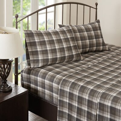 Tasha 100% Cotton Flannel Sheet Set Size: King, Color: Brown