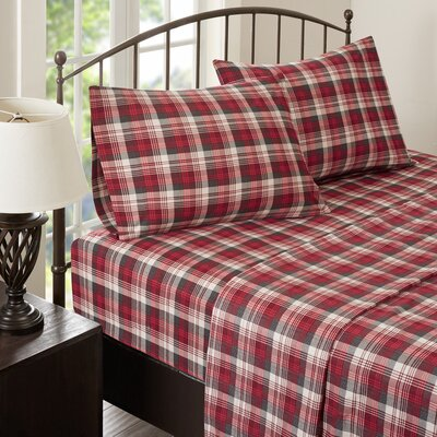 Tasha 100% Cotton Flannel Sheet Set Size: King, Color: Red
