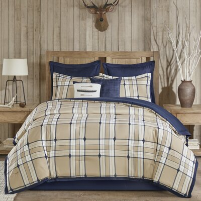 Feather Plaid Comforter Set Size: Queen