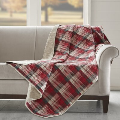 Tasha Quilted Cotton Throw Color: Red