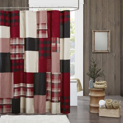 Winter Hills 100% Cotton Shower Curtain Color: Red