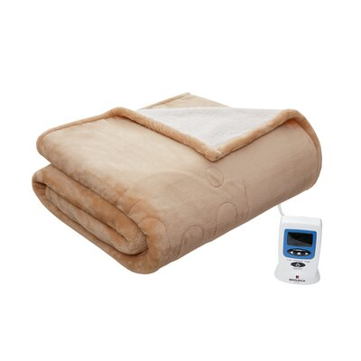 Heated Plush to Berber Blanket Size: King, Color: Tan