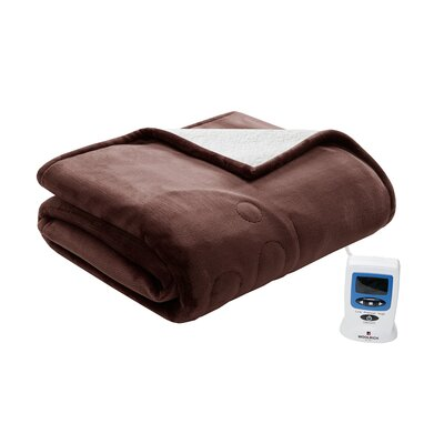 Heated Plush to Berber Blanket Size: Twin, Color: Chocolate