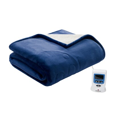 Heated Plush to Berber Blanket Size: King, Color: Sapphire Blue