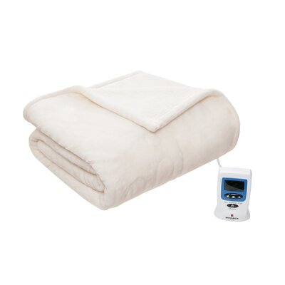 Heated Plush to Berber Blanket Size: Queen, Color: Ivory