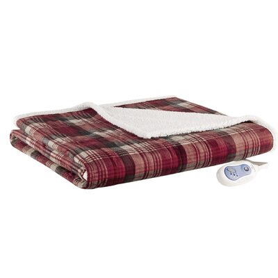 Tasha Mink to Berber Heated Throw Color: Red