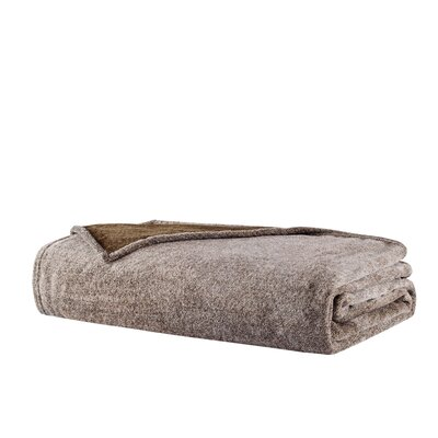 Heathered Plush Throw Blanket Size: Twin, Color: Brown