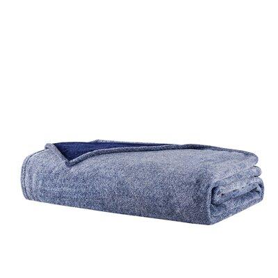 Heathered Plush Throw Blanket Size: King, Color: Indigo
