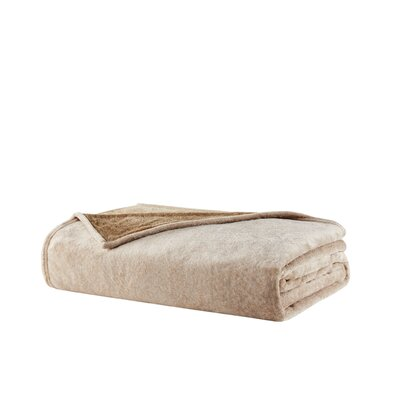 Heathered Plush Throw Blanket Size: Twin, Color: Tan