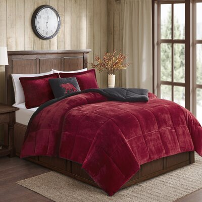 Alton Plush to Sherpa Comforter Set Size: King, Color: Red/Black