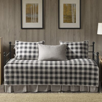 Buffalo Check 100% Cotton 5 Piece Daybed Set Color: Gray