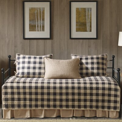 Buffalo Check 100% Cotton 5 Piece Daybed Set Color: Tan