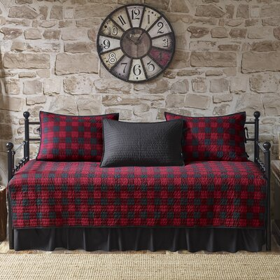 Buffalo Check 100% Cotton 5 Piece Daybed Set Color: Red