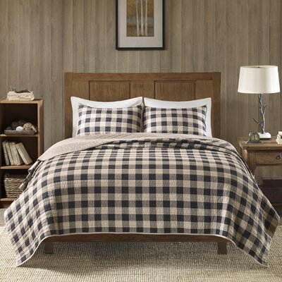 Buffalo Check 100% Cotton 3 Piece Quilt Set Size: Full/Queen, Color: Tan