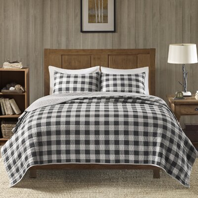 Buffalo Check 100% Cotton 3 Piece Quilt Set Size: King/California King, Color: Gray