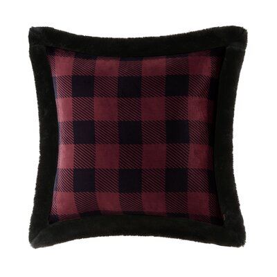Plush Faux Fur Throw Pillow Color: Red/Black