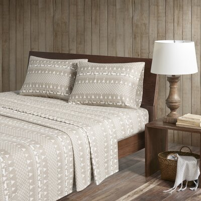 Printed 100% Cotton Sheet Set Size: California King, Color: Tan