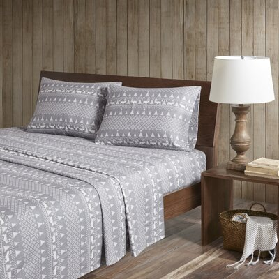 Printed 100% Cotton Sheet Set Size: California King, Color: Gray