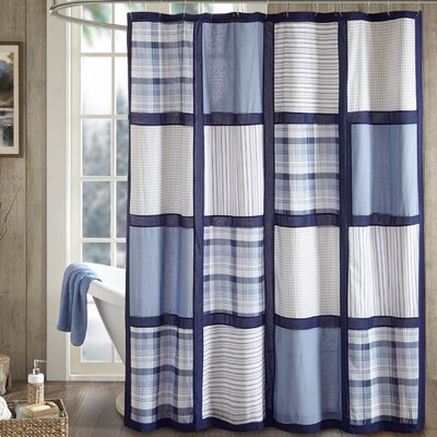 Huntington 100% Cotton Shower Curtain Color: Blue