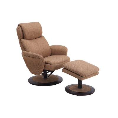 Cush Swivel Recliner and Ottoman Color: Taupe