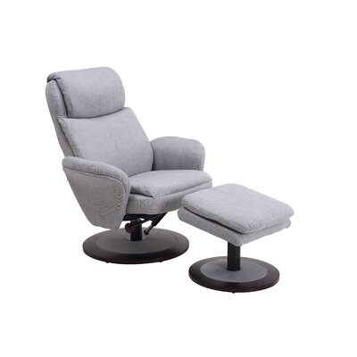 Cush Swivel Recliner and Ottoman Color: Light Gray