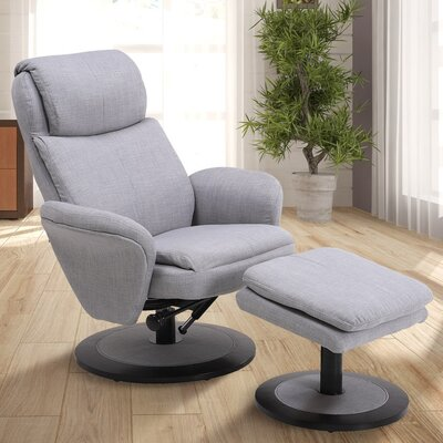 Cush Manual Swivel Recliner With Ottoman Color: Light Gray