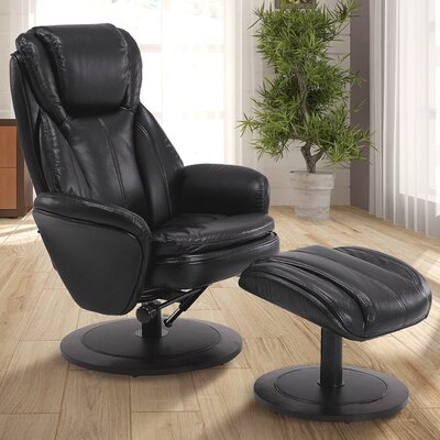 Cush Manual Swivel Recliner With Ottoman Color: Black